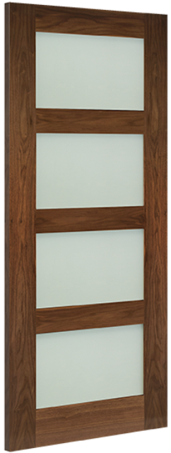 Coventry Glazed Door: 4-light *Frosted Glazed* *Pre-Finished Walnut* 35mm Internal Door - Deanta Doors®