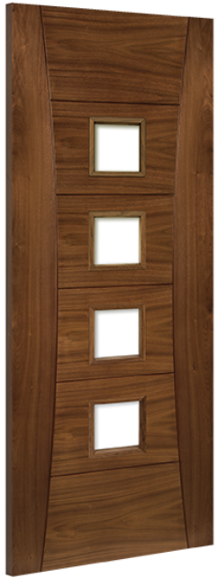 Pamplona Unglazed Fire Door: FD30 4-light *Unglazed* *Pre-Finished Walnut* 45mm Internal Fire Door - Deanta Doors