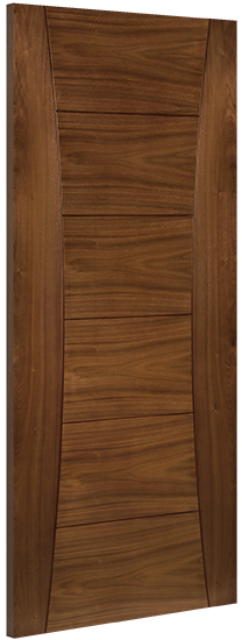 Pamplona Fire Door: FD30 V-groove Flush *Pre-Finished Walnut* 45mm Internal Firecheck Door - Deanta Doors