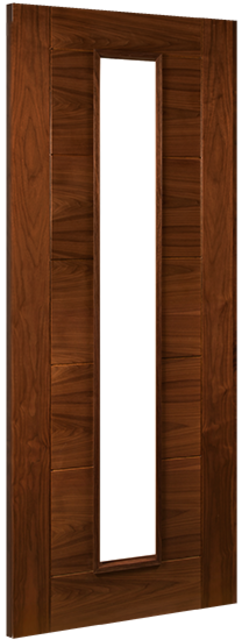 Seville Glazed Door: 1-light *Glazed* *Pre-Finished Walnut* 35mm Internal Door - Deanta Doors