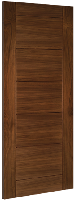 Seville Door: V-groove Flush *Pre-Finished Walnut* 35mm Internal Door - Deanta Doors