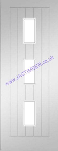 Ely Glazed Door: 3-light *Clear Toughened Glass* T&G Panel White Primed 35mm Internal Door - Deanta Doors