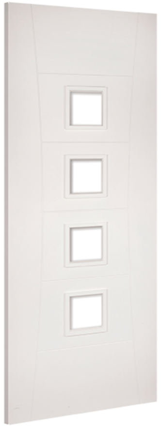 Pamplona 4L Glazed White Primed Internal Door