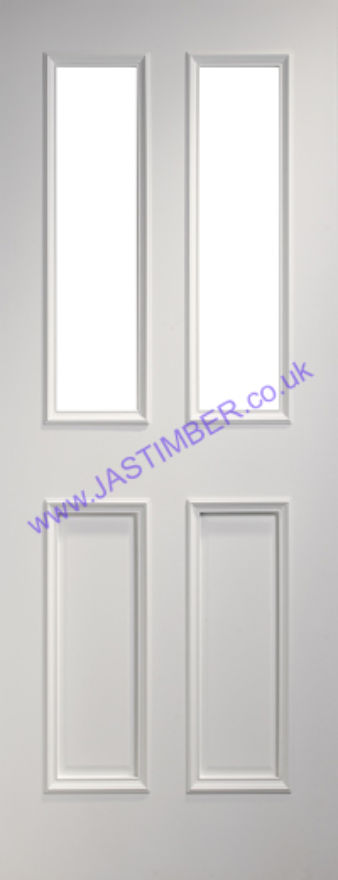 Deanta Rochester Glazed White Primed Door