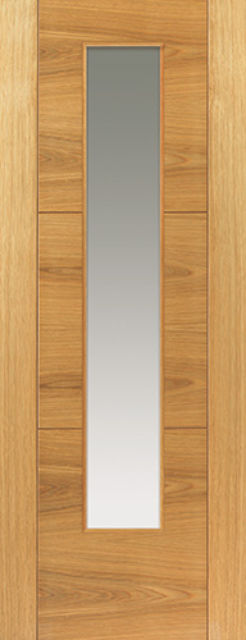 Mistral Glazed Door: 1-light Glazed V-Groove *Oak Veneer* 35mm Internal Door - JB Kind Oak Contemporary Doors