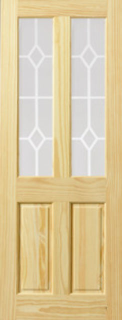 NEWPORT Glazed DOOR: 2-light *Etched Glass* Clear Pine 35mm Internal Door - JB Kind Doors