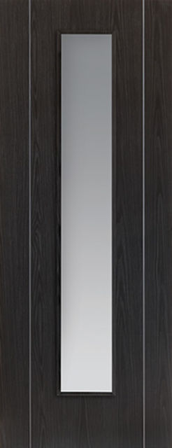 Argento Glazed Door: 1-light Glazed Flush Ash Grey 35mm Internal Pre-Finished Door - JB Kind Painted Finish Doors