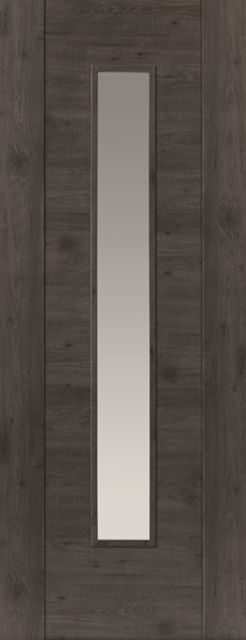 Alabama Cinza Glazed Door: 1-Light Clear Glass Laminate Dark Grey Walnut Wood Effect 35mm Internal Pre-Finished Door - JB Kind Laminate Doors