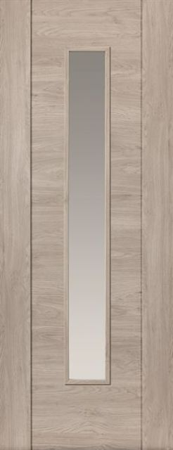 Alabama Fumo Glazed Door: 1-Light Clear-Glass Smoky Grey Wood Effect PF-Laminate 35mm Internal - JB Kind Laminate Doors