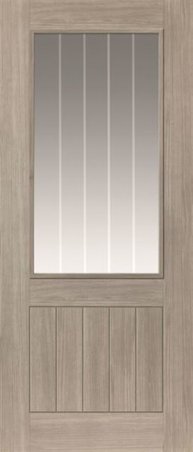 Colorado Glazed Door: 1-light Glazed Laminate Grey Coloured Wood Effect 35mm Internal Pre-Finished Door - JB Kind Laminate Doors
