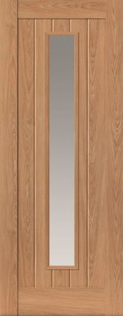 Hudson Glazed Door: 1-light Glazed Laminate Oak Coloured Wood Effect 35mm Internal Pre-Finished Door - JB Kind Laminate Doors