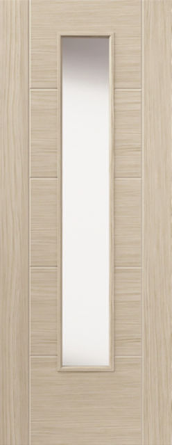 Ivory Glazed Door: 1-light Glazed Laminate Ivory Coloured Wood Effect 35mm Internal Pre-Finished Door - JB Kind Doors