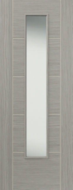 LAVA Glazed DOOR: 1-light Glazed Laminate Grey Coloured Wood Effect 35mm Internal Pre-Finished Door - JB Kind Doors