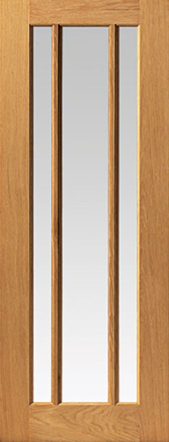 Darwen Glazed Door: 3-light *Clear Glazed* *Oak* 35mm Internal Door - JB Kind Oak Classic Doors