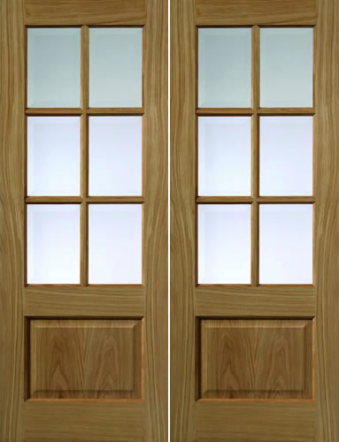 Dove Glazed Pair Door: 6-light *CBG* *Unfinished Oak* 35mm Internal Door - JB Kind Oak Classic Doors
