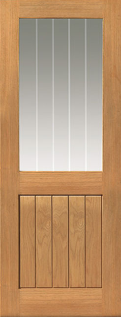 THAMES Half-Light DOOR: T&G Effect OAK veneer *Etched Glass* 35mm Internal - JB Kind Doors