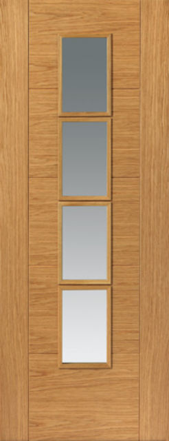 Bela Glazed Door: 4-light *Clear Glass* Pre-Finished V-Groove *Oak Veneer* 35mm Internal Door - JB Kind Oak Contemporary Doors