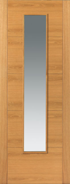 Emral Glazed Door: 1-light *Clear Glass* V-Groove *Pre-finished Oak* 35mm Internal - JB Kind Oak Contemporary Doors