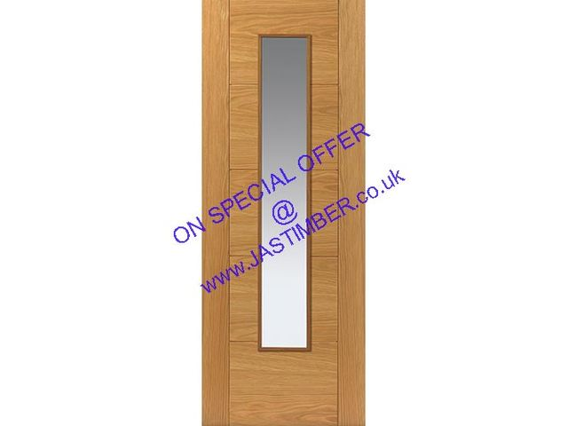 Emral 78x30 TO CLEAR Glazed PF.Oak Door: 1-Light *Clear Glass* V-Groove *Pre-Finished Oak* 35mm Internal - JB Kind Doors