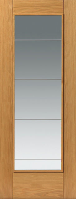 Medina Glazed Door: 1-light *Clear Diamond Cut Safety Glass* V-Groove *Oak Veneer* 35mm Internal Door - JB Kind Oak Contemporary Doors