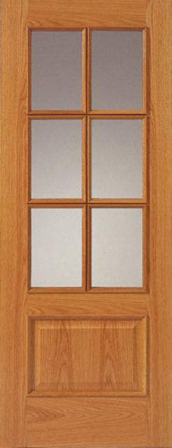 12-6VM Glazed Door: 6-light *Glazed* *Pre-Finished Oak* +RM+ 35mm Internal Door - JB Kind Oak Classic Doors