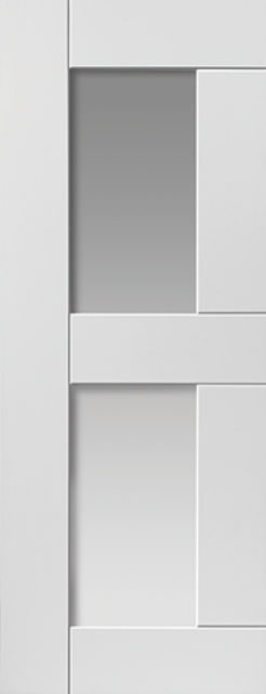 Eccentro Glazed Door: 1-light Glazed White Primed 35mm Internal Door - JB Kind White Shaker Doors