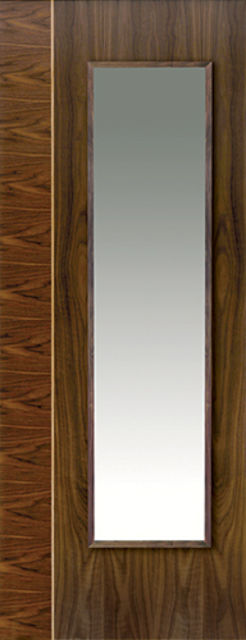 Edras Glazed Door: 1-light Glazed *Walnut Veneer* 35mm Internal Pre-Finished Door - JB Kind Walnut Doors