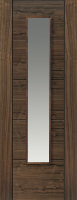 Emral Glazed Door: 1-light Glazed V-Groove *Walnut Veneer* 35mm Internal Door - JB Kind Walnut Doors