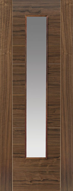 Mistral Glazed Door: 1-light Glazed V-Groove *Walnut Veneer* 35mm & 40mm Internal Door - JB Kind Walnut Doors