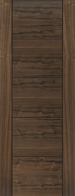 Tigris Fire Door: FD30 V-Groove *Walnut Veneer* 44mm Internal Fire Door - JB Kind Walnut Doors