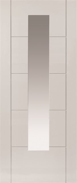 Emral Glazed Door: 1-light Glazed White Primed 35mm Internal Door - JB Kind White Contemporary Doors