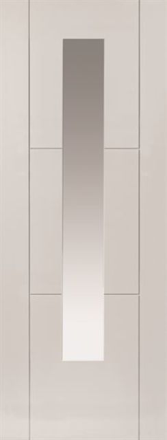 Mistral Glazed Door: 1-light Glazed White Primed 35mm Internal Door - JB Kind White Contemporary Doors