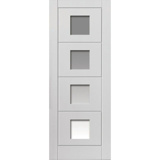 Quattro Glazed Smooth White Moulded Internal Door