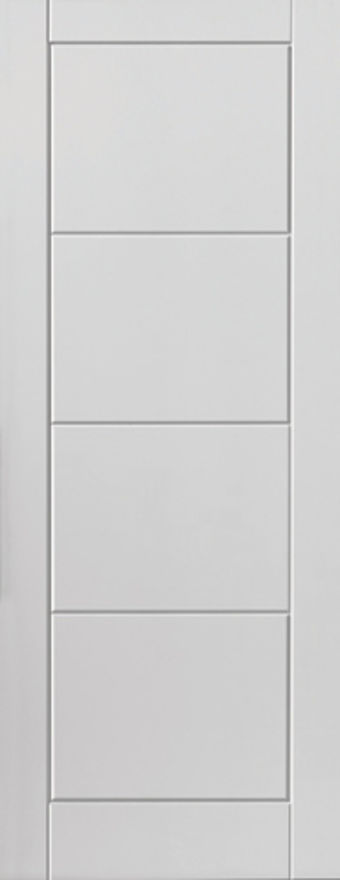 Quattro Fire Door: FD30 4-Panel V-groove Smooth White 44mm Internal Firecheck - JB Kind White Contemporary Fire Doors®