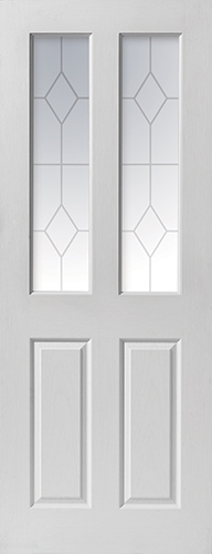 Canterbury Glazed Door: 2-light *Etched Safety Glass* Grained White Woodgrain 35mm Internal Door - JB Kind White Moulded Doors