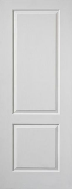CAPRICE DOOR: Moulded 2-Panel White Woodgrain 35mm Internal - JB Kind Doors