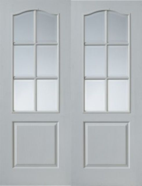 Classique Glazed Pair Doors: 6-light *Clear Glazed* White Woodgrain 35mm Internal Pair Doors - JB Kind White Classic Doors