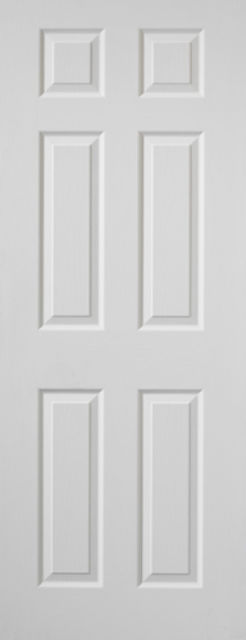 Colonist Fire Door: White Moulded 6-Panel Woodgrain 44mm Internal Firecheck - JB Kind Fire Doors