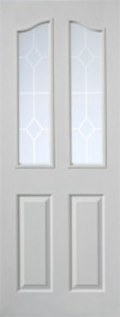 EDWARDIAN Glazed DOOR: 2-light *Etched Glass* White Woodgrain 35mm Internal Door - JB Kind Doors
