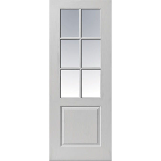 FARO Glazed DOOR: 6-light *Etched Glass* White Woodgrain 35mm Internal Door - JB Kind Doors