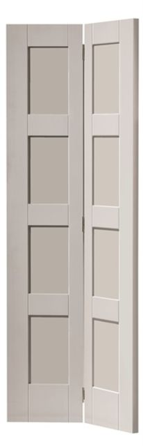 Montserrat Bi-Fold Door: 8-Panel White Primed 35mm Internal Bi-Folding Door - JB Kind White Shaker Doors