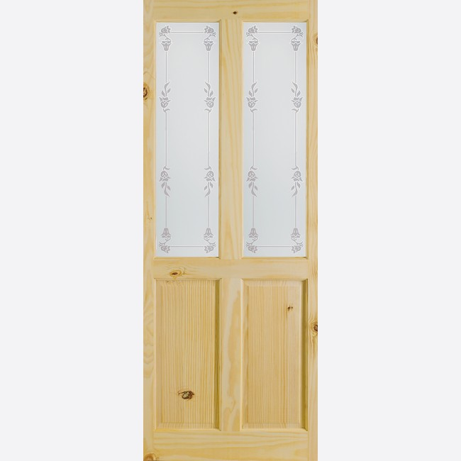 Richmond Glazed Door: 2 Light *Bluebell Glass* Knotty Pine 35mm Internal  Door   LPD Essentials Doors