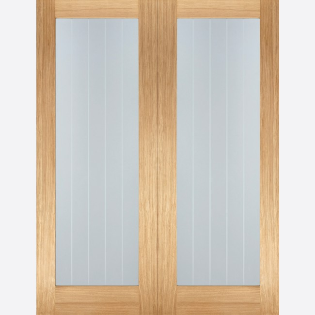 Mexicano Pattern 10 Glazed Pair Door 2-light *Clear Glazed with Frosted Lines* *Unfinished Oak* 40mm Internal Pair Door - LPD Modern Oak Pair Doors & Mexicano Pattern 10 Glazed Oak Pair Door