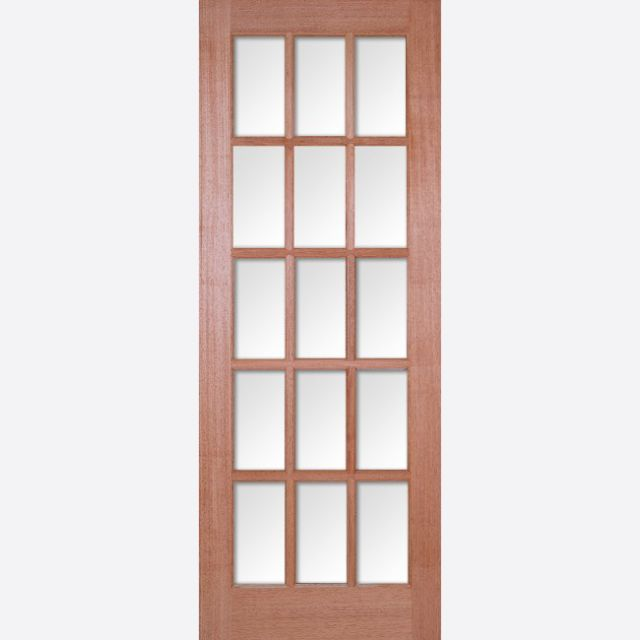 SA Glazed Door: 15-light *CBG Glazed* Square-top [Hardwood] 35mm Internal Dowel Door - LPD Essentials Doors