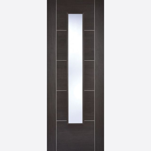 Vancouver Glazed Door: 1-light *Clear Glazed* *Pre-Finished Dark Grey Laminate* 35mm Internal - LPD Laminate Doors