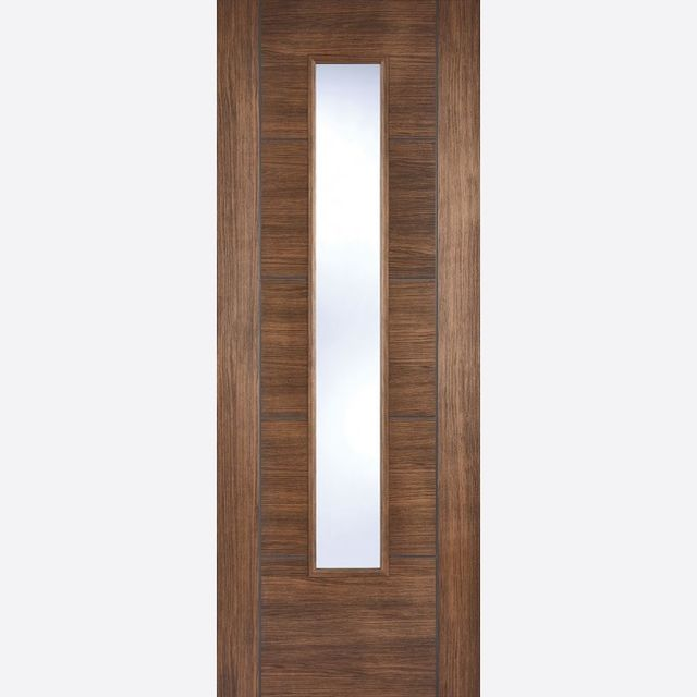 Vancouver Glazed Door: 1-light *Clear Glazed* *Pre-Finished Walnut Laminate* 35mm Internal - LPD Laminate Doors