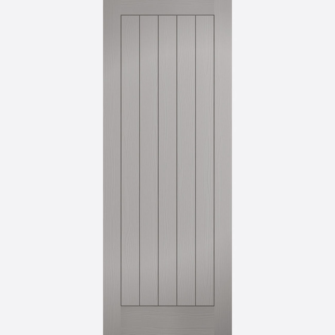 Textured 5P Door: Vertical 5-Panel T&G Effect Pre-Finished Grey 35mm Internal Door - LPD Essentials Doors