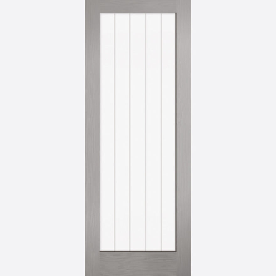 Textured Vertical Glazed Door: Vertical 1-Light Glazed Pre-Finished Grey 35mm Internal Door - LPD Essentials Doors