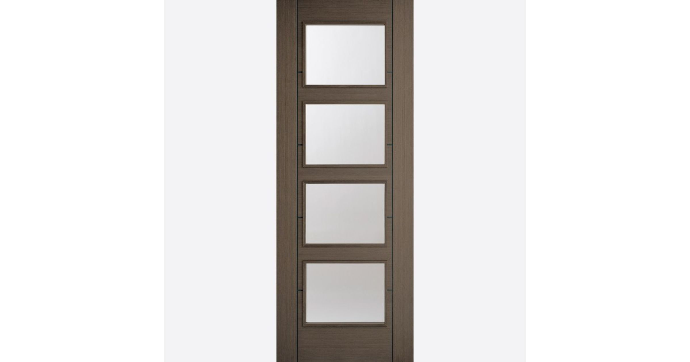 Vancouver Glazed Door: 4-light *Clear Glazed* *Pre-Finished Chocolate Grey* 35mm Internal - LPD Colour Doors