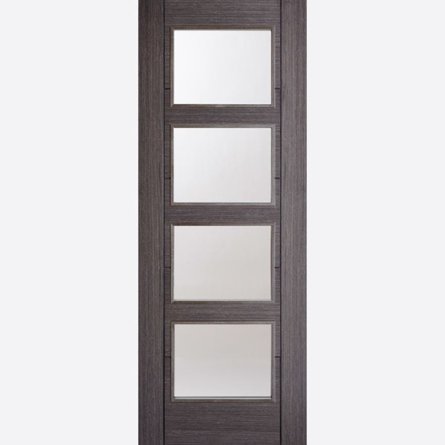 Vancouver Glazed Door: 4-light *Clear Glazed* *Pre-Finished Ash Grey* 35mm Internal - LPD Colour Doors